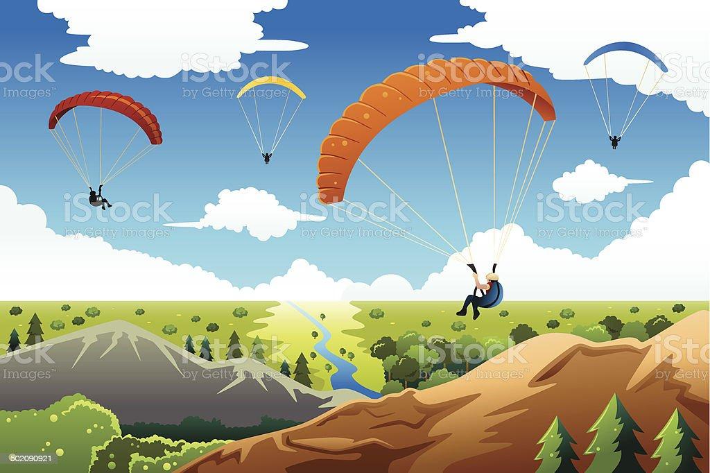 People paragliding vector art illustration