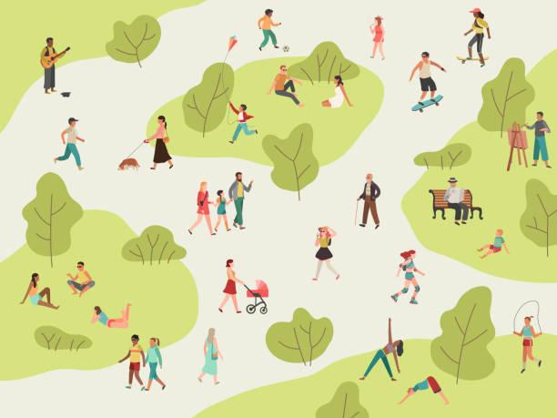 stockillustraties, clipart, cartoons en iconen met people park. actieve wandeling buitenshuis vrouw man meisje kinderen picknick sport praten gemeenschap karakter leisure lunch in het park - teenager animal