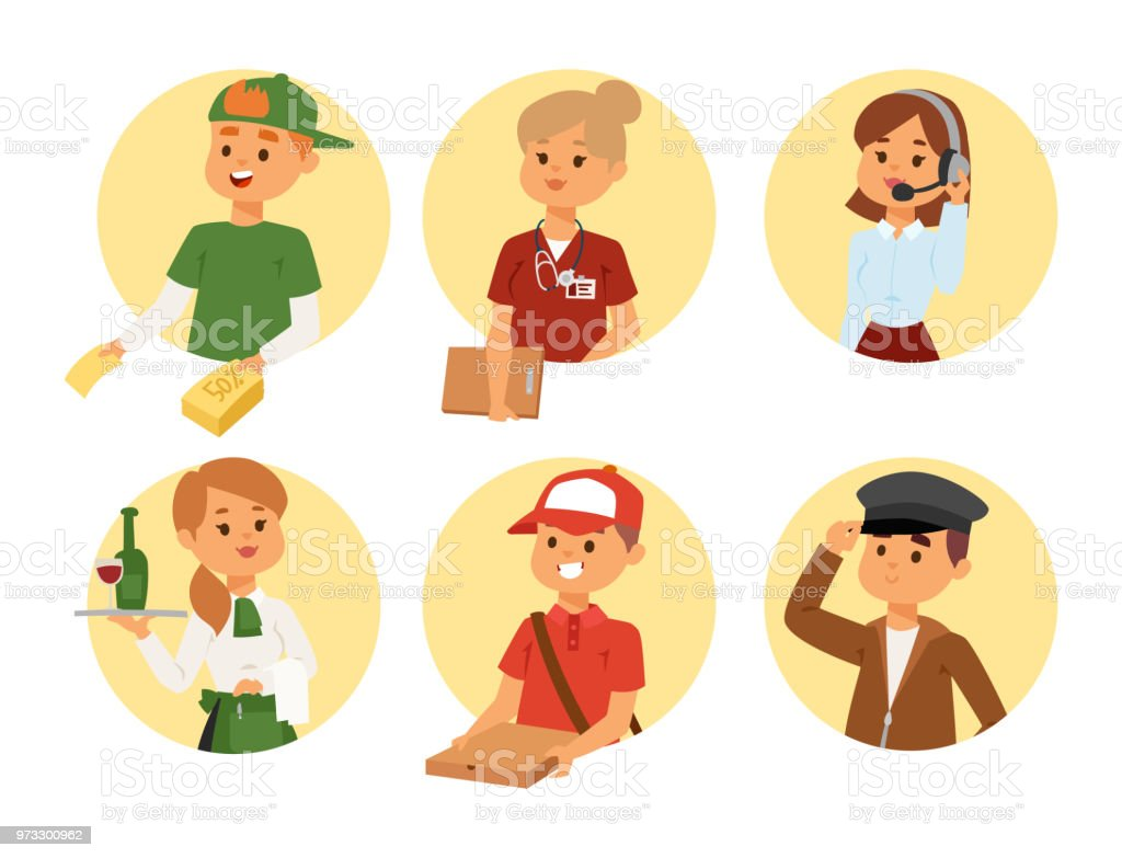 people parttime job professions vector set characters temporary job