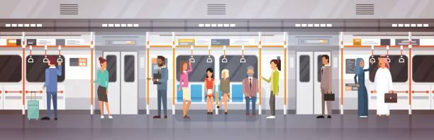 地下のトラム、地下鉄車近代都市公共交通機関の人々 支線 - 通勤点のイラスト素材/クリップアート素材/マンガ素材/アイコン素材