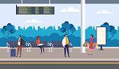 People passengers character waiting bus. Public transport concept. Vector flat graphic design
