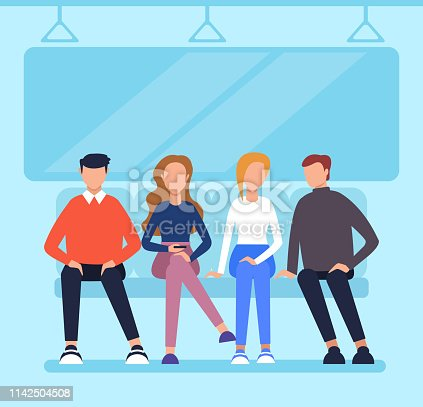 People passengers characters sitting in wagon metro and using phone. City urban transportation concept. Vector flat cartoon graphic design