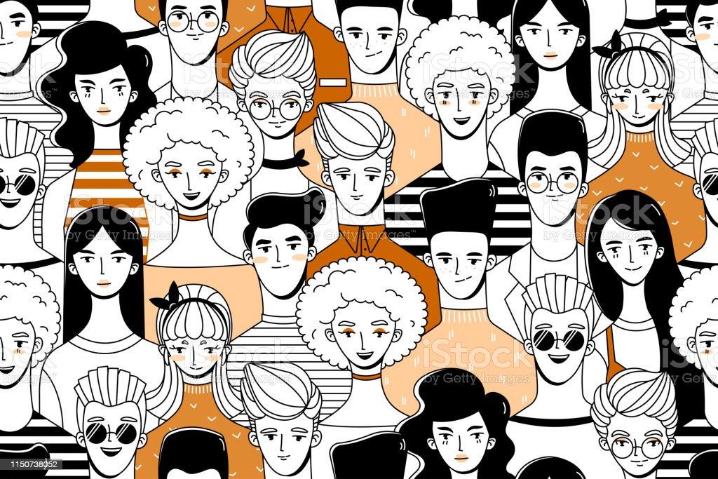 Mensen. Patroon 3 - Royalty-free Achtergrond - Thema vectorkunst