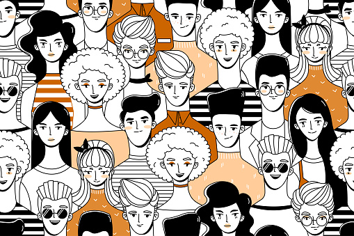 Seamless pattern with a crowd of people (young guys and girls). Background in doodle style.