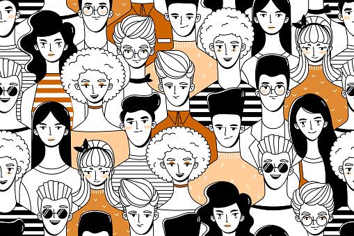 Mensen Patroon 3 Stockvectorkunst en meer beelden van Achtergrond - Thema