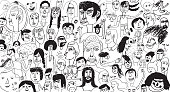 Hand drawn people pattern