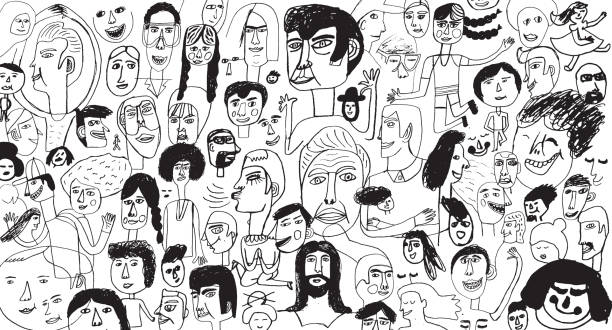 People pattern backround Hand drawn people pattern community drawings stock illustrations