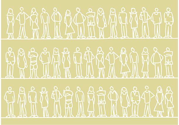 People Pattern Basic & stylish vector drawing of people. community drawings stock illustrations