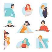 People peeping set, young men and women looking out of windows vector Illustration isolated on a white background.