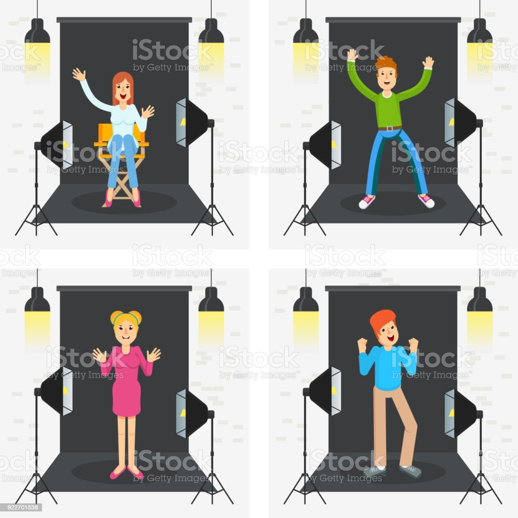 People photo and video porodaction studio. vector art illustration