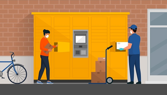 People picking up boxes in the parcel delivery locker