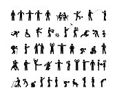 people pictogram in various poses, stick figure man isolated silhouette, human symbol icon