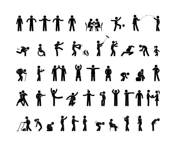people pictogram in various poses, stick figure man, human symbol icon people pictogram in various poses, stick figure man isolated silhouette, human symbol icon stick figure stock illustrations