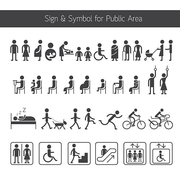 people pictogram signs and symbols for public area - old man on bike stock illustrations, clip art, cartoons, & icons