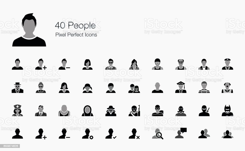 40 People Pixel Perfect Icons vector art illustration