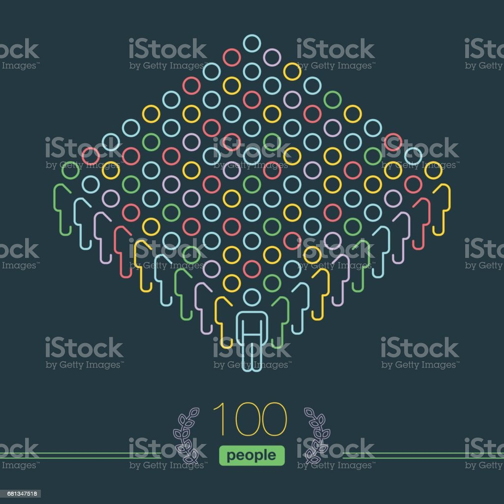 100 People - Pixel perfect Infographic - Male Team Leader vector art illustration