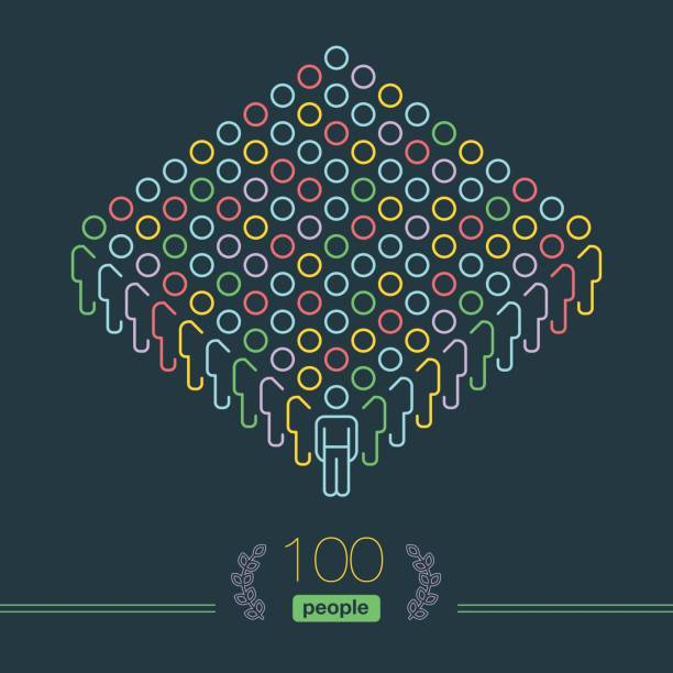100 people - pixel perfect infographic - male team leader - conceptual infographics stock illustrations, clip art, cartoons, & icons