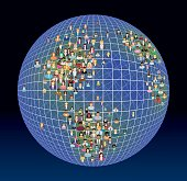 People, planet and global network - vector illustration.