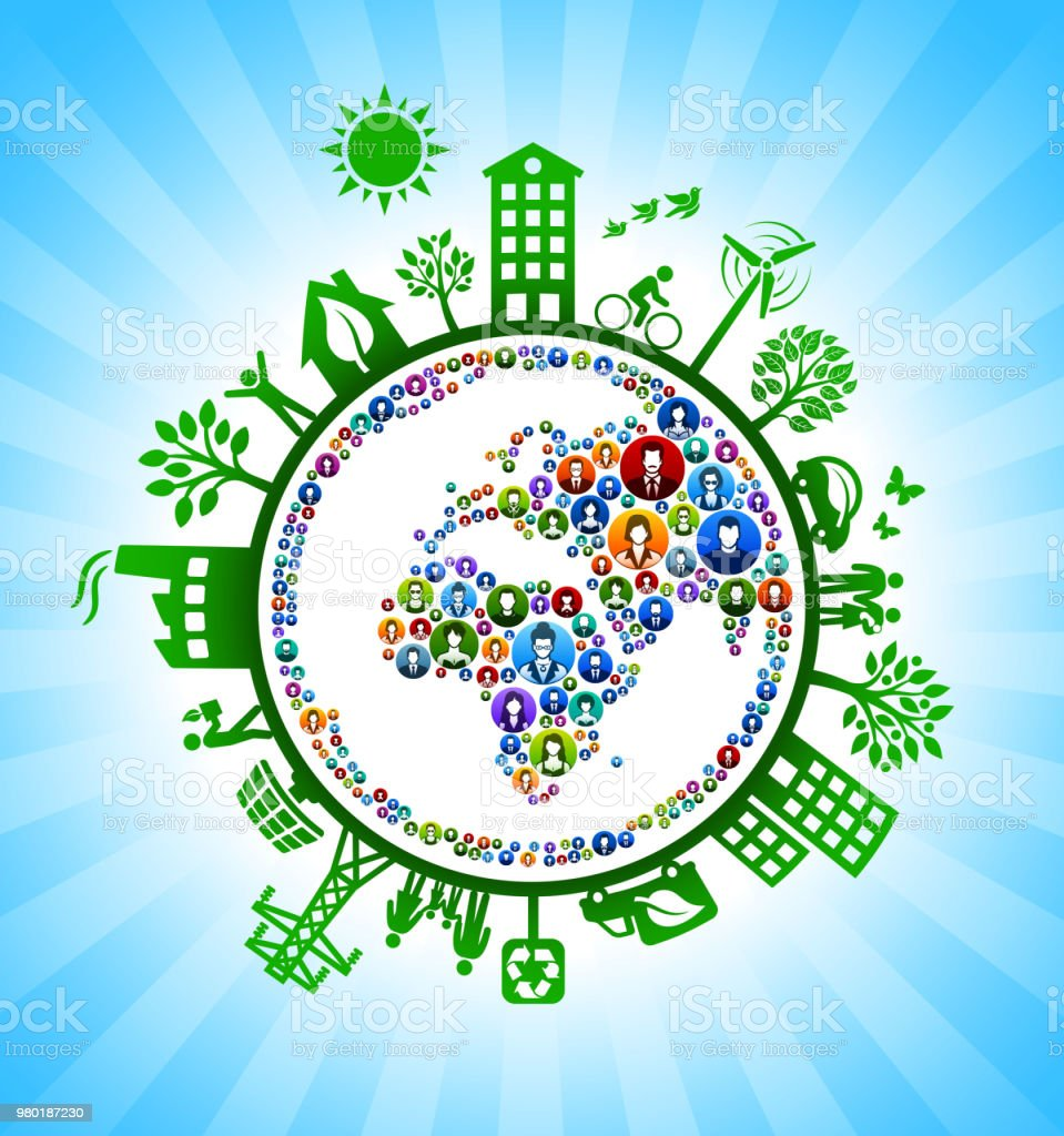 People Planet Earth on Green Environmental Conservation Background....