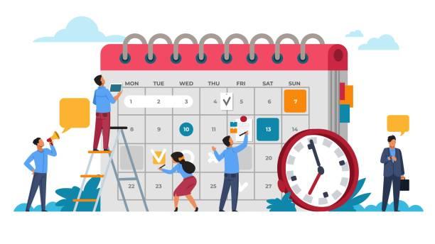 illustrations, cliparts, dessins animés et icônes de concept de planification des gens. planification de l'entrepreneuriat et de l'horaire des calendriers. réunion d'affaires vectorielle et organisation d'événements - calendrier