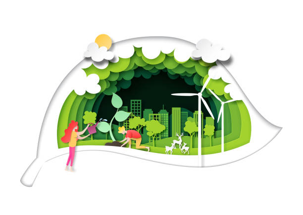 People plant the tree on green city with green leaf background layers paper art style vector art illustration