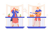 People play musical instruments on their balconies. Girl violinist and guy guitar player. Entertainment at home, a concert for neighbors, free live performance. Vector flat modern illustration.