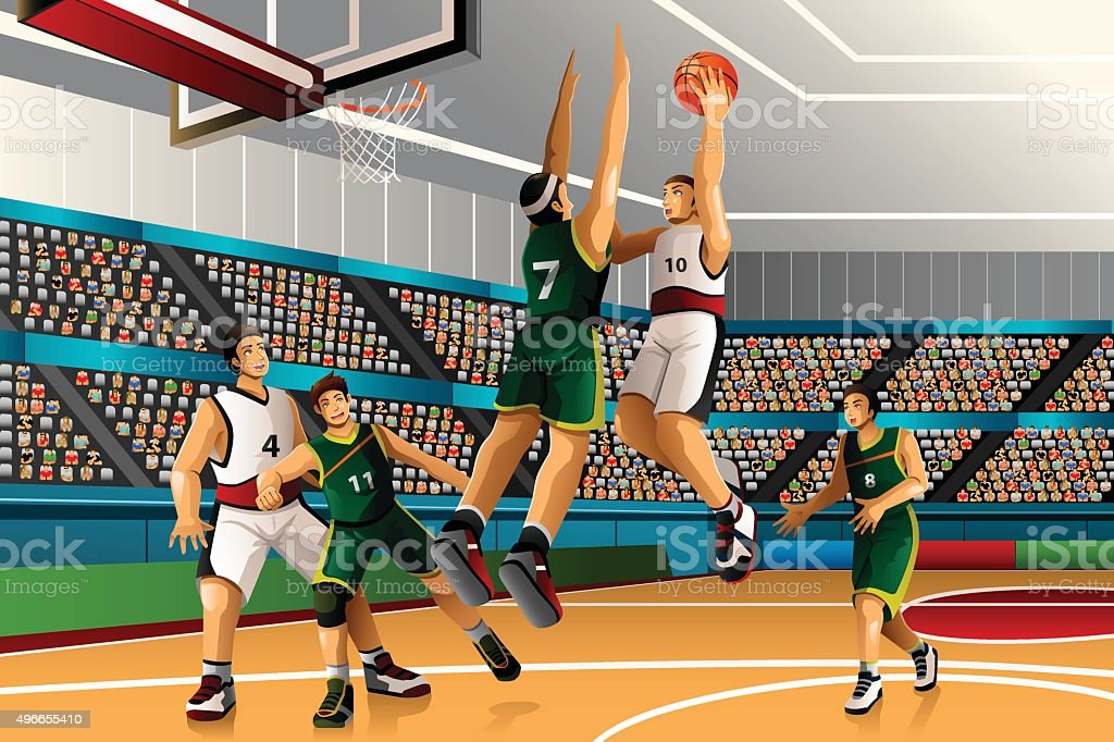 People playing basketball in the competition vector art illustration