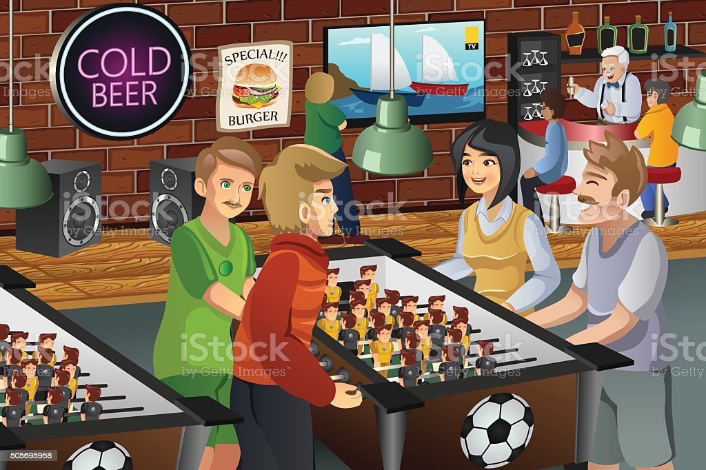 Personnes jouant au ping-pong - Illustration vectorielle