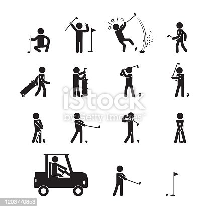 People playing golf icon set. Stick figure icon set. Vector. eps10.