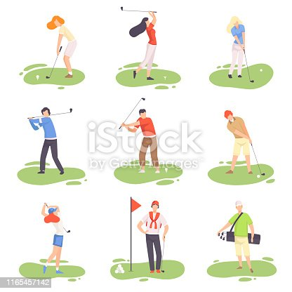 istock People Playing Golf Set, Male and Female Golfer Players Training with Golf Clubs on Course with Green Grass, Outdoor Sport or Hobby Vector Illustration 1165457142