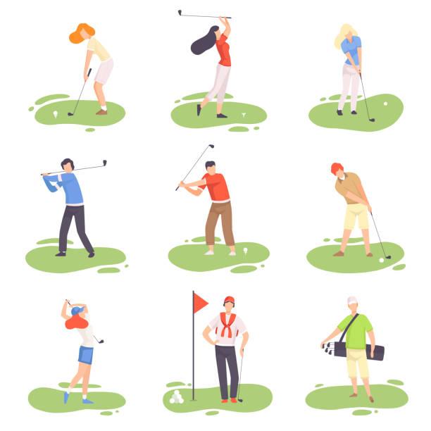 ゴルフセットをプレイする人々, 男性と女性のゴルファーの選手は、緑の草、屋外スポーツやホビーベクトルイラストとコース上のゴルフクラブでトレーニング - ゴルフ点のイラスト素材/クリップアート素材/マンガ素材/アイコン素材