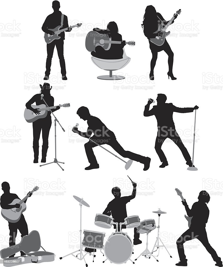 People playing music vector art illustration