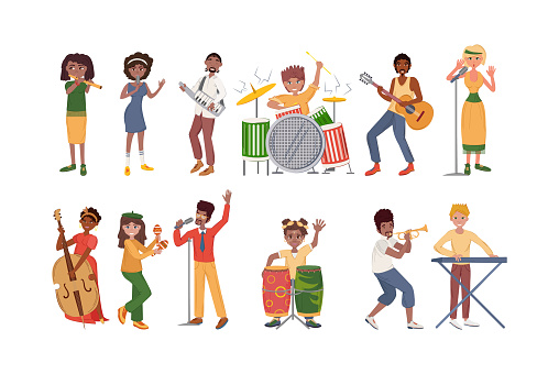 People playing musical instruments set. Afro-american, Europeans men, woman musicians playing musical instruments: drums, guitar, saxophone, flute, contrabass. Drummer, keyboardist, singers
