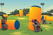 A vector illustration of people playing paintball