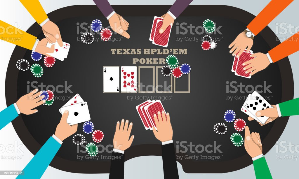 People playing poker around a poker table with dealer. vector art illustration
