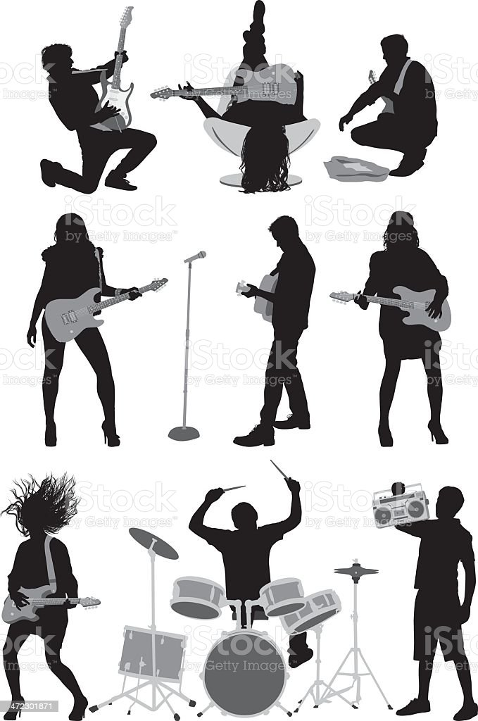 People playing rock and roll music vector art illustration