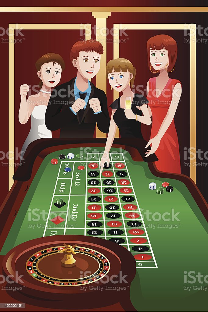 People playing roulette in a casino royalty-free stock vector art