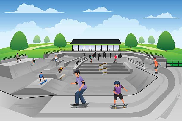 bildbanksillustrationer, clip art samt tecknat material och ikoner med people playing skateboard - skatepark
