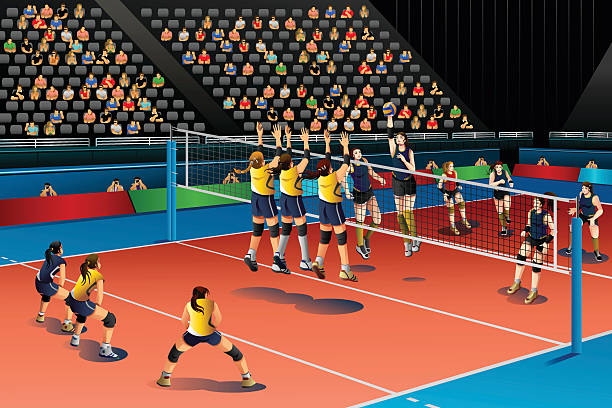 People Playing Volleyball in the Competition vector art illustration