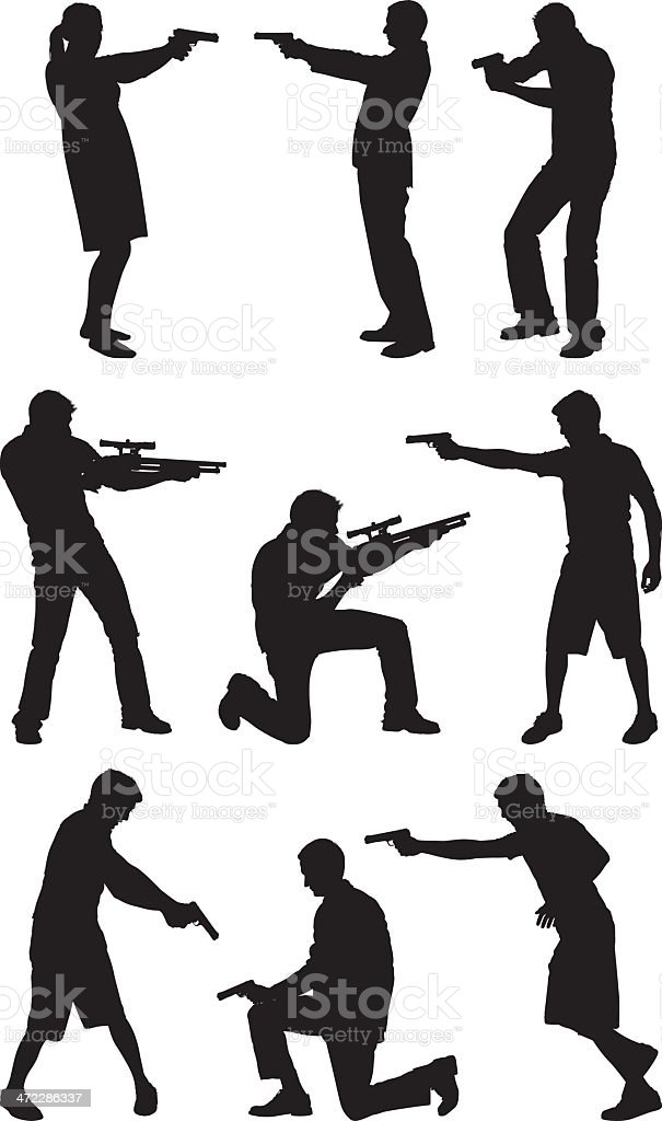 People pointing with firearms vector art illustration