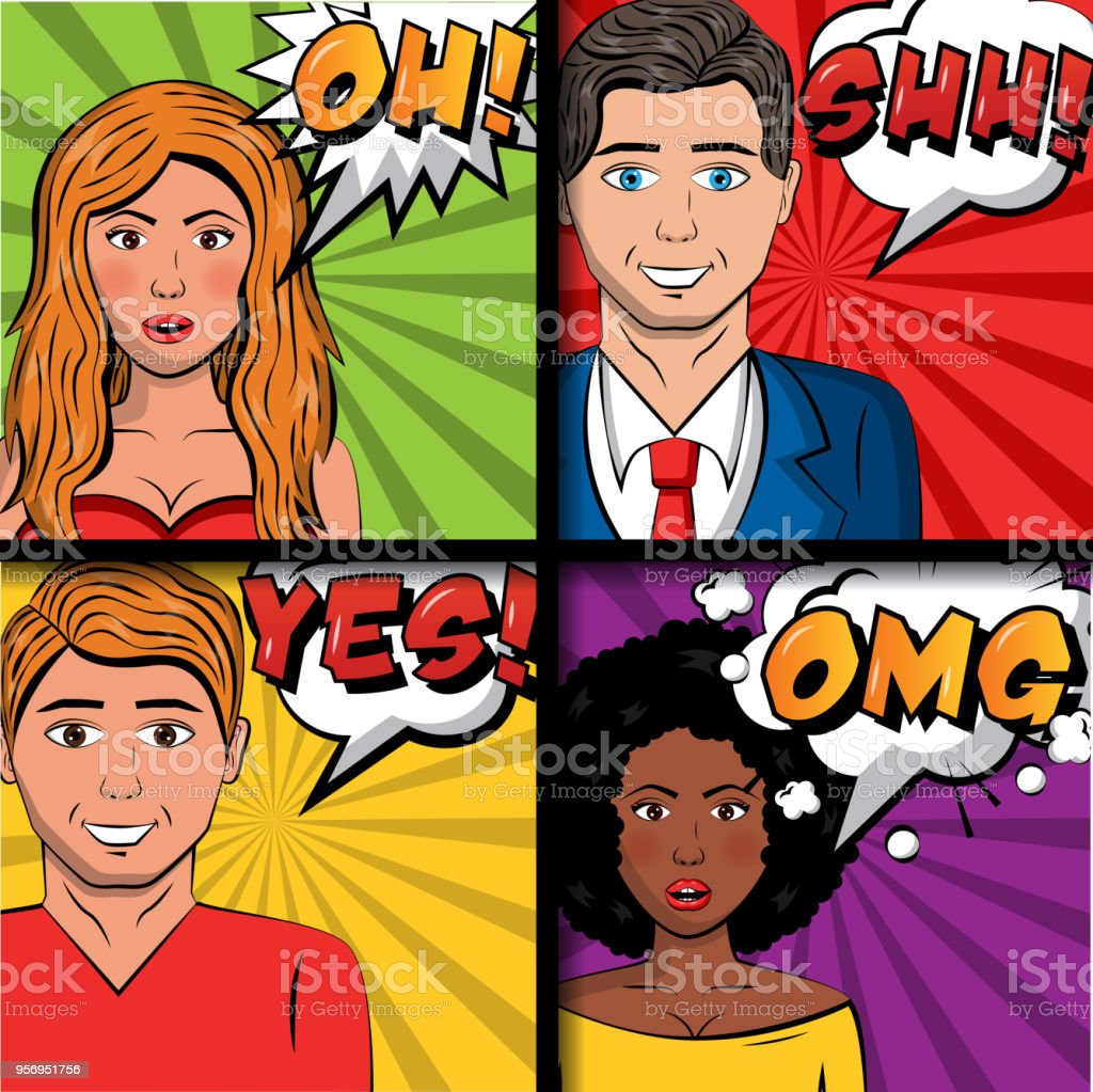 people pop art comic man and womaan speech bubbles phrases vector...