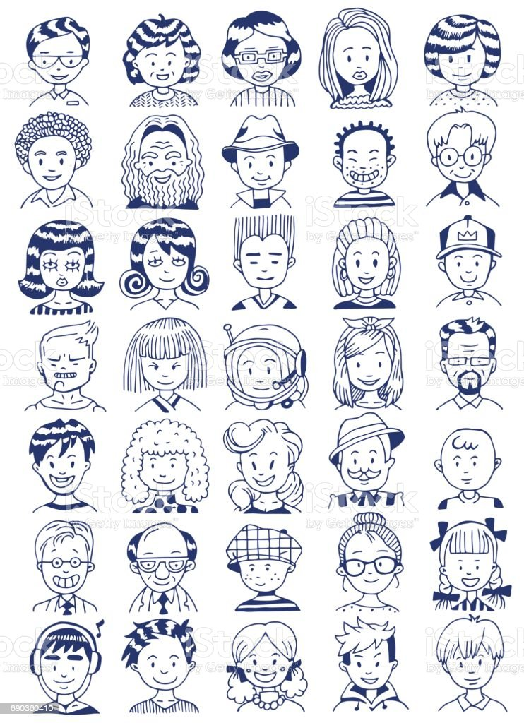 People Portrait Set. Collection of Various Men and Women Faces. Hand Drawn Line Art Cartoon Vector illustration. vector art illustration