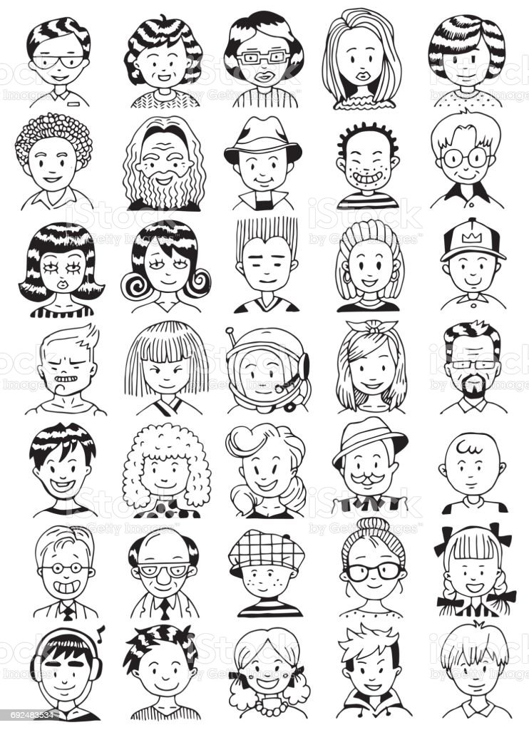 People Portrait Set. Collection of Various Men and Women Faces. Hand Drawn Line Art Cartoon Vector illustration. Black and White illustration. vector art illustration