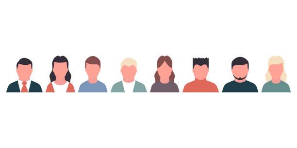 illustrazioni stock, clip art, cartoni animati e icone di tendenza di people portraite concept set icons - portraite woman