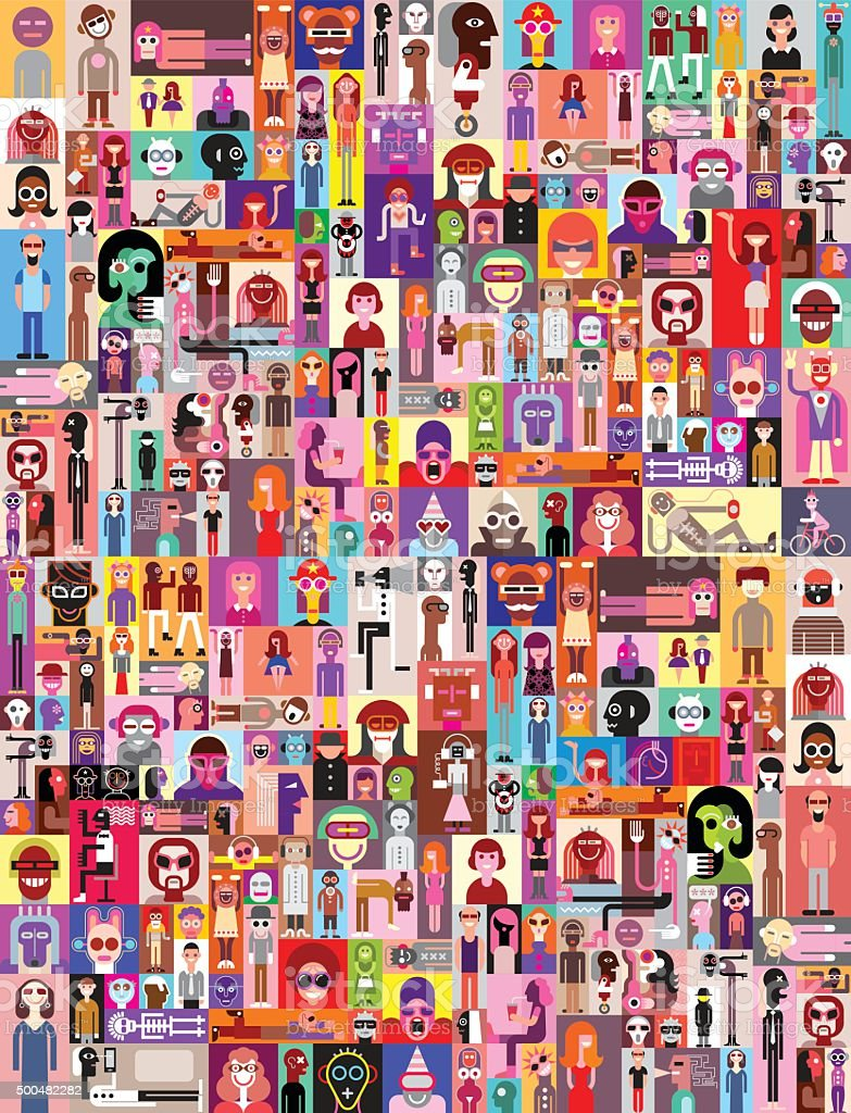 People Portraits vector art illustration