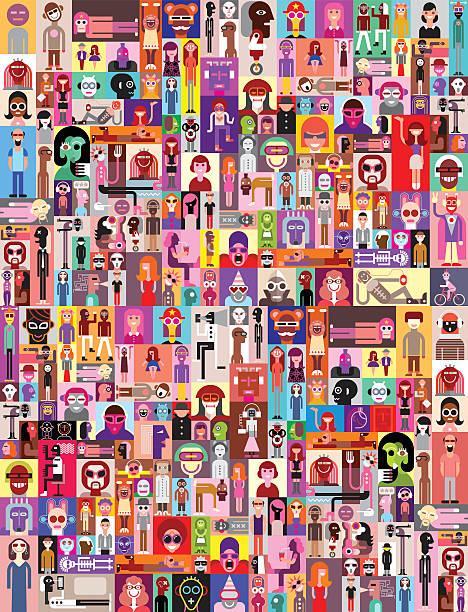 ludzie zdjęcia - wielokrotny obraz stock illustrations