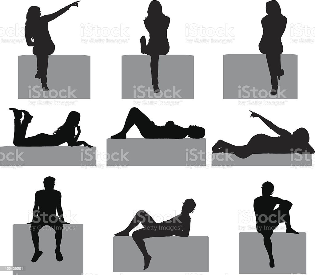 People posing on the ledge of a wall royalty-free stock vector art