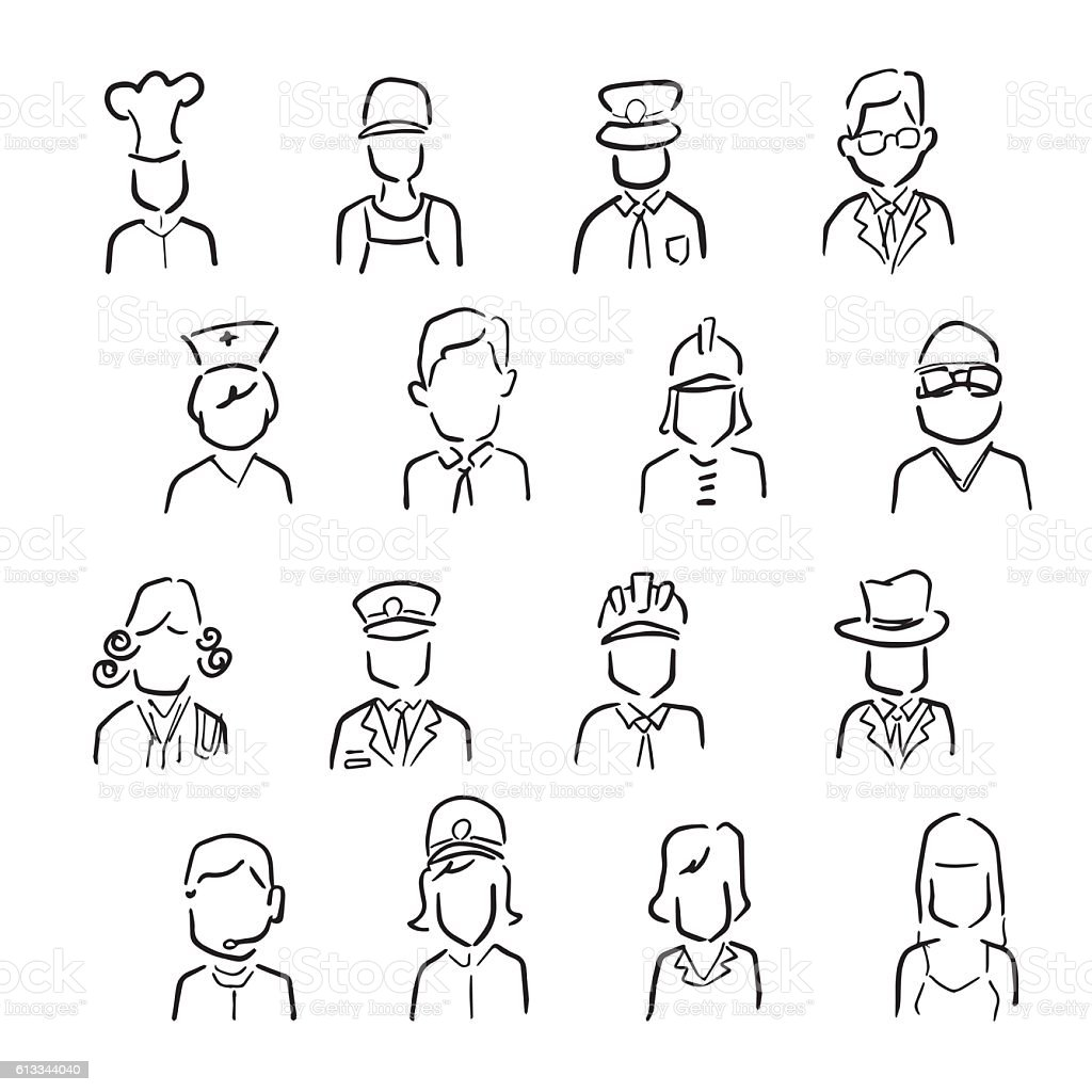 People profession icons cartoon drawing