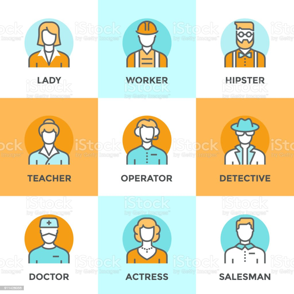 Line icons set with flat design elements of various business people...