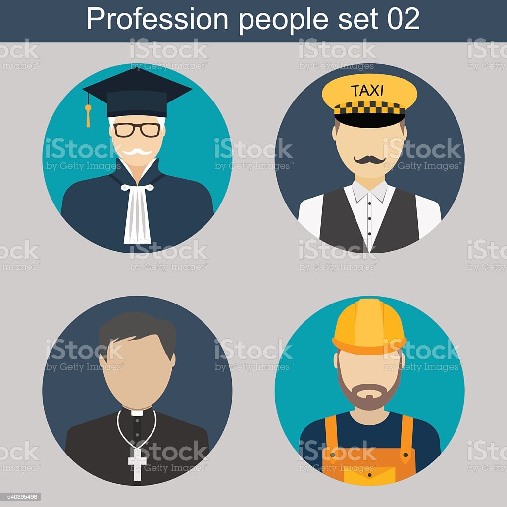 Profession people. Judge, taxi driver, priest, builder. flat avatars...